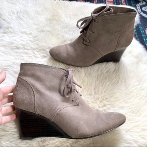 Ralph Lauren wedge bootie stacked heel taupe